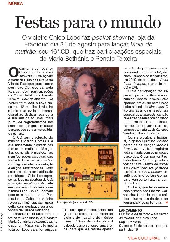 VILA CULTURAL - Lançamento Dia 31AGO2016 na Livraria da Vila Madalena